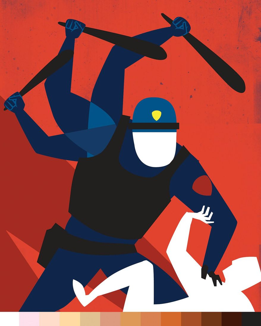 Illustration on law enforcement and race by Linas Garsys/The Washington Times
