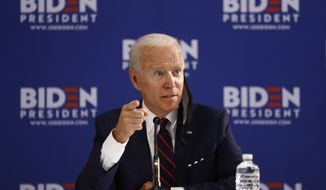 Democratic presidential candidate and former Vice President Joseph R. Biden speaks during a roundtable on economic reopening with community members, Thursday, June 11, 2020, in Philadelphia. (AP Photo/Matt Slocum)