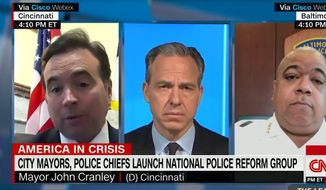 Cincinnati Mayor John Cranley discusses police issues with CNN's Jake Tapper and Baltimore Police Commissioner Michael Harrison, June 10, 2020. (Image: CNN video screenshot)