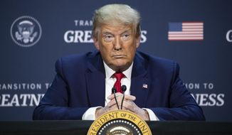 """President Donald Trump pauses while speaking during a roundtable discussion about """"Transition to Greatness: Restoring, Rebuilding, and Renewing,"""" at Gateway Church Dallas, Thursday, June 11, 2020, in Dallas.(AP Photo/Alex Brandon)"""