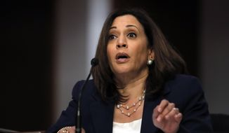 Sen. Kamala Harris, D-Calif., speaks during a Senate Judiciary Committee business meeting to consider authorization for subpoenas relating to the Crossfire Hurricane investigation, and other matters on Capitol Hill in Washington, Thursday, June 11, 2020. (AP Photo/Carolyn Kaster, Pool)