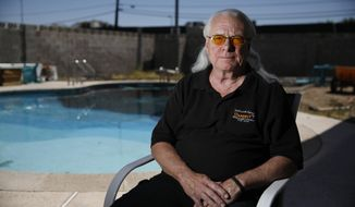 """Ward Black poses for a portrait Thursday, June 11, 2020, in Las Vegas. Black, a University of Michigan gymnast on the school's 1970 national championship team, says it was """"an open secret"""" that a team doctor sexually abused athletes at the school. (AP Photo/John Locher)"""