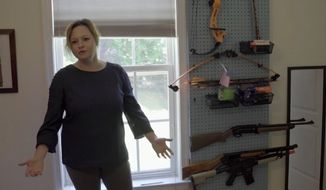 Courtney Lancaster, a Navy veteran and Baltimore mother, is outraged after she says police showed up at her home last week to investigate a complaint from her son's school over BB guns that were seen during a virtual learning lesson. (screengrab via WBFF)