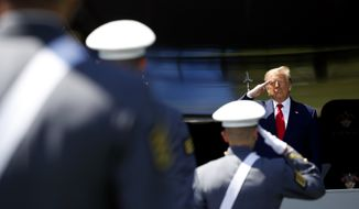 In this file photo, President Donald Trump salutes after speaking to over 1,110 cadets in the Class of 2020 at a commencement ceremony on the parade field, at the United States Military Academy in West Point, N.Y., Saturday, June 13, 2020. (AP Photo/Alex Brandon)  **FILE**