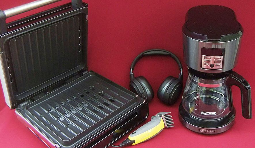 Spectrum Brands' George Foreman Smokeless Grill, Remington's Virtually Indestructible Trimmer, Audeze' Mobius Headphones and Black & Decker's Vortex Coffeemaker are some Father's Day gift ideas. (Photograph by Joseph Szadkowski/The Washington Times)