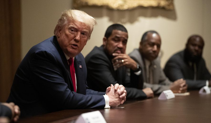In this file photo, President Donald Trump speaks during a roundtable discussion with African-American supporters in the Cabinet Room of the White House, Wednesday, June 10, 2020, in Washington. A Rasmussen poll released Oct. 29, 2020, found that 31% of likely Black voters plan to vote for Mr. Trump's reelection. (AP Photo/Patrick Semansky)  **FILE**