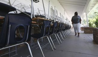 In this June 1, 2020, file photo, Kristina Washington, special education staff member at Desert Heights Preparatory Academy, walks past a series of desks and chairs at the school in Phoenix, returning to her classroom for only the second time since the coronavirus outbreak closed schools.  Arizona educators are planning how public schools will reopen in the coming school year amid the continuing coronavirus pandemic, and some districts already have decided that changes will include limiting what days students will be at school.   (AP Photo/Ross D. Franklin)