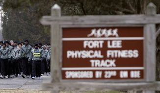 This Wednesday, Feb. 22, 2006 file photo shows members of Alpha Company of the 244th Quartermasters battalion march to the physical fitness track at the Ft. Lee Army base in Ft. Lee, Va. As much as President Donald Trump enjoys talking about winning and winners, the Confederate generals he vows will not have their names removed from U.S. military bases were not only on the losing side of rebellion against the United States, some weren't even considered good generals. Or even good men. The 10 generals include some who made costly battlefield blunders; others mistreated captured Union soldiers, some were slaveholders, and one was linked to the Ku Klux Klan after the war. (AP Photo/Steve Helber, File)