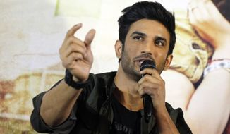 """In this May 30, 2017, file photo, Bollywood actor Sushant Singh Rajput speaks during a press conference to promote his movie """"Raabta"""" in Ahmadabad, India. Rajput was found dead at his Mumbai residence on Sunday, Press Trust of India and other media outlets reported. (AP Photo/Ajit Solanki, File)"""