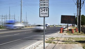 A section of Highway 349 north of Midland photographed on Thursday, June 4, 2020. The portion of Highway 349 between Lubbock and Midland is being considered for the southern extension of Interstate 27. (Eli Hartman/Odessa American via AP)