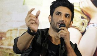"""FILE- In this May 30, 2017 file photo, Bollywood actor Sushant Singh Rajput speaks during a press conference to promote his  movie """"Raabta"""" in Ahmadabad, India. Rajput was found dead at his Mumbai residence on Sunday, Press Trust of India and other media outlets reported. (AP Photo/Ajit Solanki, File)"""