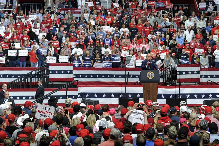In this March 2, 2020, file photo, President Donald Trump speaks during a campaign rally in Charlotte, N.C. (AP Photo/Mike McCarn) ** FILE **