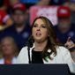 Republican National Committee Chairwoman Ronna McDaniel speaks at a rally for President Donald Trump in Grand Rapids, Mich., Thursday, March 28, 2019. (AP Photo/Paul Sancya) ** FILE **