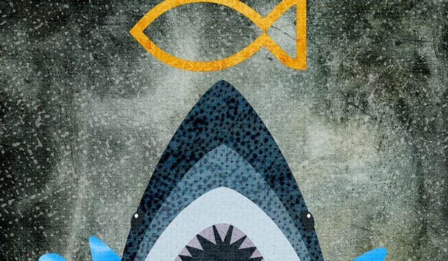 Amazon Shark Illustration by Greg Groesch/The Washington Times