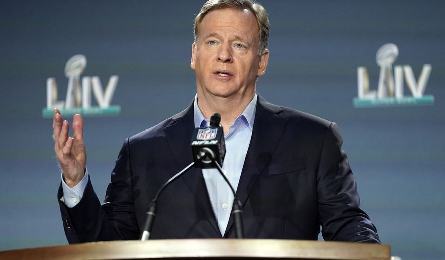 """In this Jan. 29, 2020, file photo, NFL Commissioner Roger Goodell answers a question during a news conference for the NFL Super Bowl 54 football game in Miami. Baltimore Ravens linebacker Matthew Judon criticized the timing of Goodell's assertion that """"black lives matter"""" to the league, saying Monday, June 15, 2020, that the assertion should have been made long ago. (AP Photo/David J. Phillip) ** FILE **"""