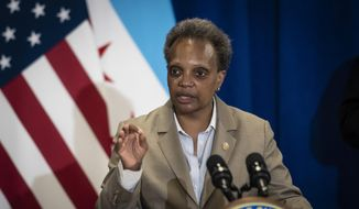 Mayor Lori Lightfoot speaks during a press conference at City Hall to announce the city's new Use of Force Working Group, designed to to review the Chicago Police Department's policies pertaining to use of force, Monday morning, June 15, 2020. (Ashlee Rezin Garcia/Chicago Sun-Times via AP) ** FILE **
