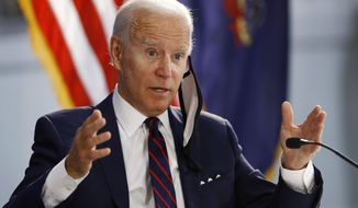 Democratic presidential candidate, former Vice President Joe Biden speaks during a roundtable on economic reopening with community members, Thursday, June 11, 2020, in Philadelphia. (AP Photo/Matt Slocum)