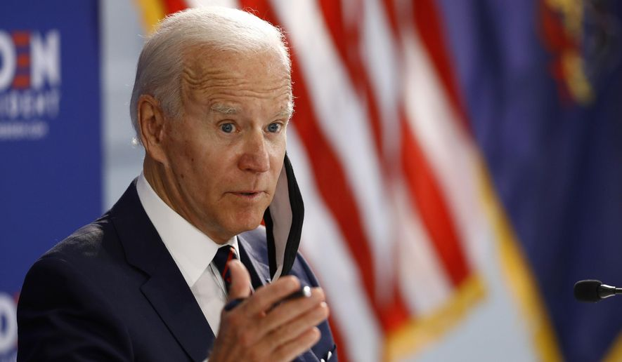 Democratic presidential candidate, former Vice President Joe Biden speaks during a roundtable on economic reopening with community members, Thursday, June 11, 2020, in Philadelphia. (AP Photo/Matt Slocum)