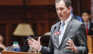House minority leader, Robert Trammell, D - Luthersville, speaks against HB 792, the supplemental budget for the rest of the fiscal year, which the house went on to pass, Wednesday, February 19, 2020. (Bob Andres/Atlanta Journal-Constitution via AP)