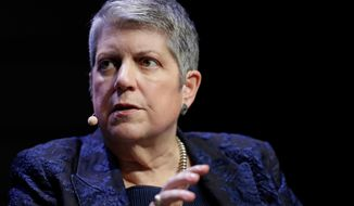 FILE - This March 7, 2018, file photo, shows University of California President Janet Napolitano at a meeting of The Commonwealth Club in San Francisco. The University of California's governing board voted Monday, June 15, 2020, to unanimously support a measure to restore affirmative action programs and repeal a controversial statewide ban that has long been blamed for a decline in diversity in the prestigious university system. UC President Janet Napolitano, all 10 campus chancellors and the governing bodies for faculty, undergraduate and graduate students have expressed support for the measure. (AP Photo/Marcio Jose Sanchez, File)