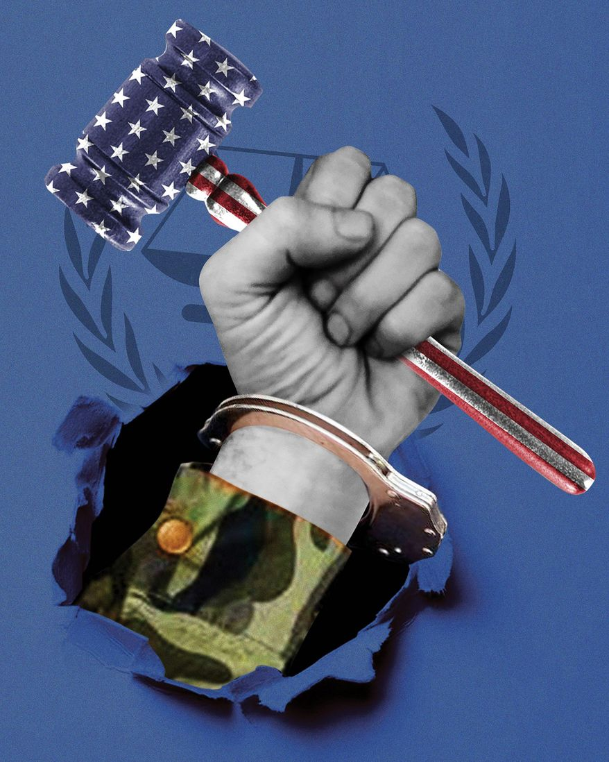 Illustration on standing up to the ICC by Linas Garsys/The Washington Times