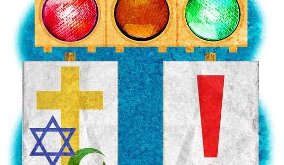 Illustration on the right to worship by Alexander Hunter/The Washington Times