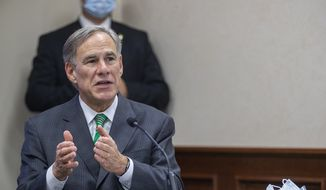 Texas Gov. Greg Abbott gives an update on Texas Hospital bed capacity and the strategy to fight COVID-19 in the state of Texas during a press conference at Texas Department of Public Safety, Tuesday, June 16, 2020, in Austin, Texas. (Ricardo B. Brazziell/Austin American-Statesman via AP) ** FILE **