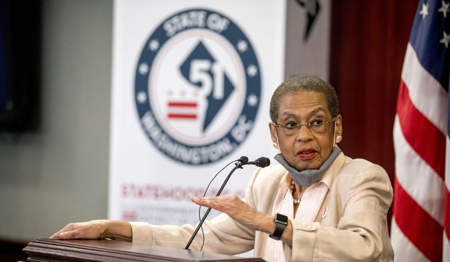 Delegate Eleanor Holmes Norton, D-D.C., speaks at a news conference on District of Columbia statehood on Capitol Hill, Tuesday, June 16, 2020, in Washington. House Majority Leader Steny H. Hoyer of Md. will hold a vote on D.C. statehood on July 26. (AP Photo/Andrew Harnik)