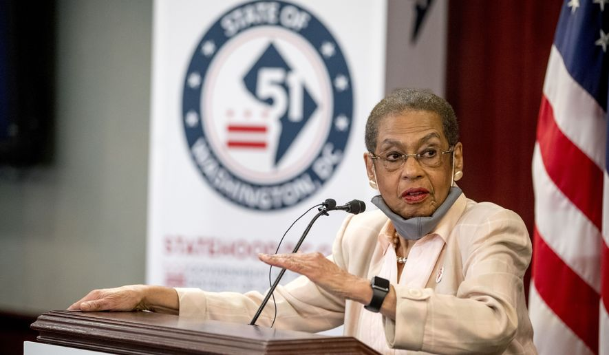 Delegate Eleanor Holmes Norton, D-D.C., speaks at a news conference on District of Columbia statehood on Capitol Hill, Tuesday, June 16, 2020, in Washington. (AP Photo/Andrew Harnik) ** FILE **