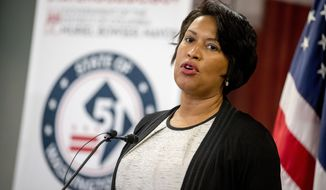 District of Columbia Mayor Muriel Bowser speaks at a news conference on District of Columbia statehood on Capitol Hill, Tuesday, June 16, 2020, in Washington. House Majority Leader Steny Hoyer of Md. will hold a vote on D.C. statehood on July 26. (AP Photo/Andrew Harnik) ** FILE **