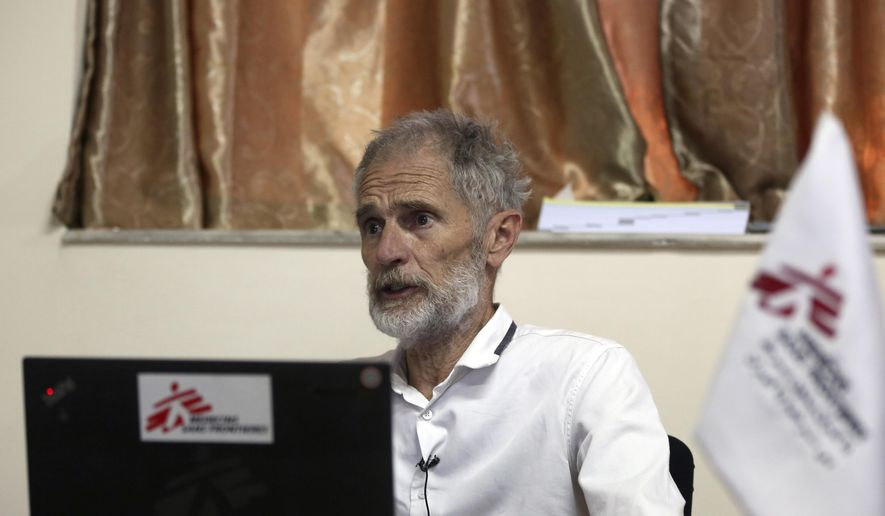 Brian Moller, MSF head of programs of Afghanistan, speaks during an interview to the Associated press in Kabul, Afghanistan, Tuesday, June 16, 2020. The Geneva-based international health organization Medicins Sans Frontieres MSF– also known as Doctors Without Borders Tuesday closed its operations in the Afghan capital Kabul after a horrific attack on its maternity hospital in May. (AP Photo/Rahmat Gul)