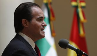 Mauricio Claver-Carone, deputy assistant to President Donald Trump and senior director for Western Hemisphere affairs, speaks to the press after meeting with Bolivia's Foreign Minister Karen Longaric in La Paz, Bolivia, Wednesday, Jan. 15, 2020. (AP Photo/Juan Karita)