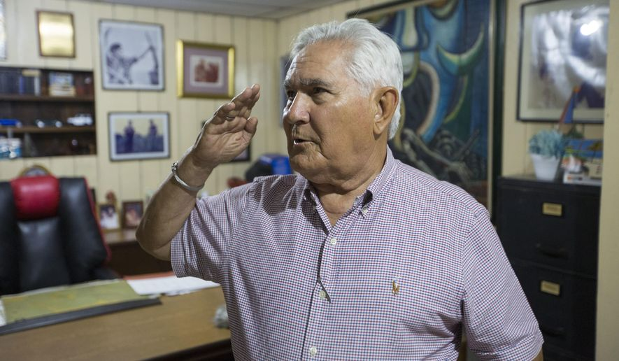 """FILE - In this May 3, 2018 file photo, Eden Pastora, better known as """"Commander Zero,"""" speaks during an interview at his house in Managua, Nicaragua. Pastora, one of the most mercurial, charismatic figures of Central America's revolutionary upheavals, has died. His son Alvaro Pastora said Tuesday, June 16, 2020 that he died at Managua's Military Hospital of respiratory failure. (AP Photo/Moises Castillo, File)"""