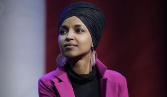 In this Jan. 31, 2020, file photo, Rep. Ilhan Omar, D-Minn., participates in a panel during a campaign event for Democratic presidential candidate Sen. Bernie Sanders in Clive, Iowa. Omar on Monday, June 15, announced the death of her father due to complications from COVID-19. In a statement, Omar said Nur Omar Mohamed died Monday. She gave no additional information. (AP Photo/Marcio Jose Sanchez, File)