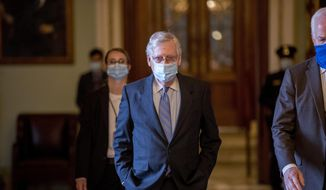 Senate Majority Leader Mitch McConnell of Ky., walks to his office after leaving the Senate floor on Capitol Hill, Wednesday, June 17, 2020, in Washington. (AP Photo/Andrew Harnik) ** FILE **