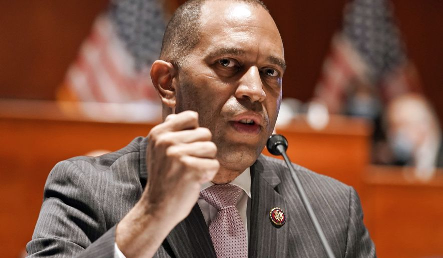 Rep. Hakeem Jeffries, D-N.Y., speaks during a House Judiciary Committee markup of the Justice in Policing Act of 2020 on Capitol Hill in Washington, Wednesday, June 17, 2020. (Greg Nash/Pool via AP)