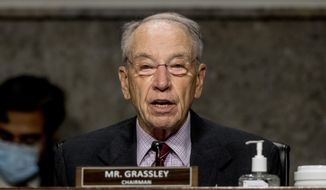 Chairman Sen. Chuck Grassley, R-Iowa, speaks as U.S. Trade Representative Robert Lighthizer appears at a Senate Finance Committee hearing on U.S. trade on Capitol Hill, Wednesday, June 17, 2020, in Washington. (AP Photo/Andrew Harnik, Pool) ** FILE **