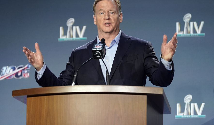 In this Jan. 29, 2020, file photo, NFL Commissioner Roger Goodell answers a question during a news conference for the NFL Super Bowl 54 football game in Miami. It's been over three months since the commissioners of major sports cancelled or postponed events because of the coronavirus. Enough time for us to grade them on how they've handled the virus so far. (AP Photo/David J. Phillip) ** FILE **
