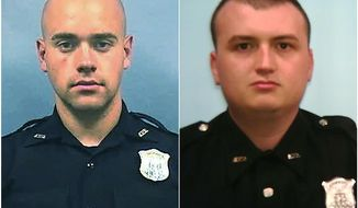 This combination of photos provided by the Atlanta Police Department shows Officer Garrett Rolfe, left and Officer Devin Brosnan. Rolfe, who fatally shot Rayshard Brooks in the back after the fleeing man pointed a stun gun in his direction, will be charged with felony murder and 10 other charges. Brosnan, stood on Brooks' shoulder as he struggled for life after a confrontation will be charged with aggravated assault. (Atlanta Police Department via AP)