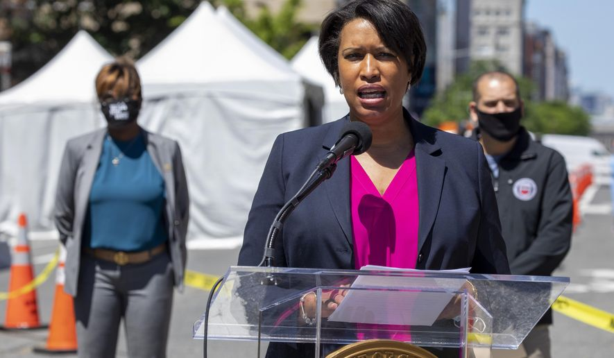 District of Columbia Mayor Muriel Bowser speaks Monday, June 1, 2020, in Washington, during a news conference to announce a new 7 p.m. curfew for the city for the next two nights. Across the United States people gathered to protest the death of George Floyd, who was killed in police custody in Minneapolis on May 25. (AP Photo/Jacquelyn Martin)