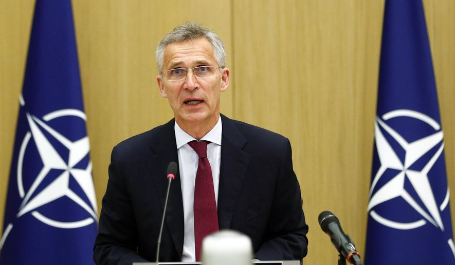 NATO Secretary-General Jens Stoltenberg speaks during a video conference of NATO Defense Minister at the NATO headquarters in Brussels, Wednesday, June 17, 2020. (Francois Lenoir, Pool Photo via AP) ** FILE **