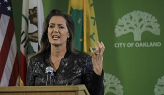 Oakland Mayor Libby Schaff gestures while speaking during a media conference on Wednesday, June 17, 2020, in Oakland, Calif. Schaff discussed the presence of ropes found at Lake Merritt. (AP Photo/Ben Margot)