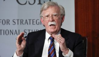 In this Sept. 30, 2019, file photo, former National Security Adviser John Bolton gestures while speakings at the Center for Strategic and International Studies in Washington. (AP Photo/Pablo Martinez Monsivais, File)
