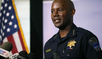 """Tulsa Police Chief Wendell Franklin speaks during a news conference at Tulsa police headquarters in Tulsa, Okla., Wednesday, June 17, 2020. President Donald Trump is scheduled to hold a rally this weekend in Tulsa. Up to 250 Oklahoma Army National Guardsmen will be activated as a """"force multiplier"""" for local, state and federal law enforcement providing security, Franklin said. (Matt Barnard/Tulsa World via AP)"""