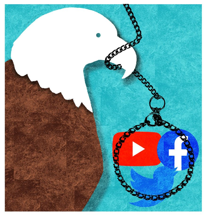 Illustration on Federal intervention in social media platforms by Alexander Hunter/The Washington Times
