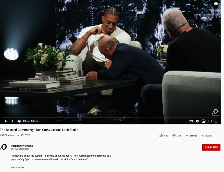 Chick-Fil-A CEO Dan Cathy shines shoes during a conversation on racism held at  at Passion City Church in Atlanta, June 14, 2020. (Image: YouTube,  Passion City Church video screenshot)