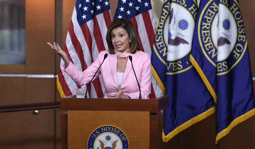 House Speaker Nancy Pelosi of Calif., speaks during her weekly news conference on Capitol Hill in Washington, Thursday, June 18, 2020. (AP Photo/Susan Walsh)