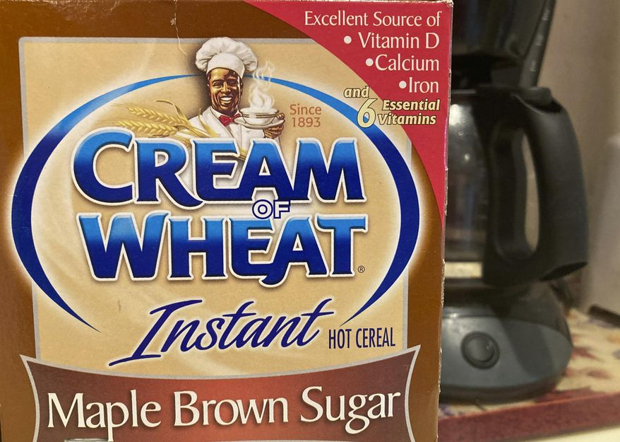 A box of Cream of Wheat is displayed on a counter, Thursday, June 18, 2020 in White Plains, N.Y. A smiling black chef holding a bowl of cereal has appeared on Cream of Wheat packaging and in ads since at least 1918, according to the company's web site. (AP Photo/Donald King)