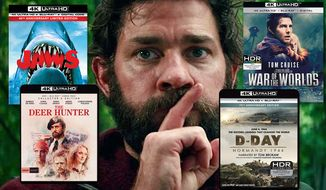 "Last-minute 4K movie gift ideas for dad include ""Jaws: 45th Anniversary Edition,"" ""The Deer Hunter: Collector's Edition,"" ""War of the Worlds: 15th Anniversary Edition"" and ""D-Day Normandy: 75th Anniversary Edition."" Background image: John Krasinski in ""A Quiet Place"""