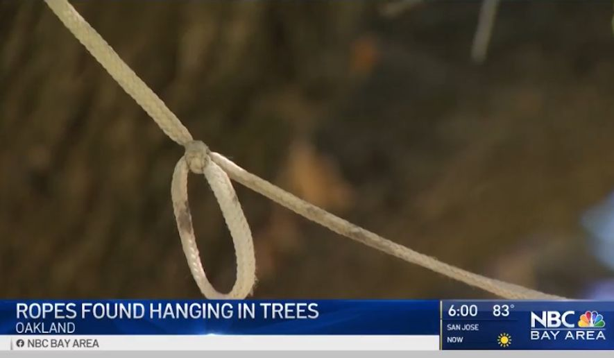"""Mayor Libby Schaaf said Wednesday, June 17, 2020, that the intentions behind the roughly five ropes found hanging around Lake Merritt """"don't matter"""" in light of the current racial climate. (screengrab via NBC Bay Area)"""